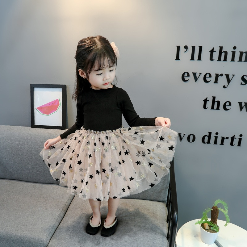 Children Dress Girls Cute Five-pointed Star Print Mesh Stitching Bottoming Long Sleeved Sweet Princess Kids Dresses for Girls