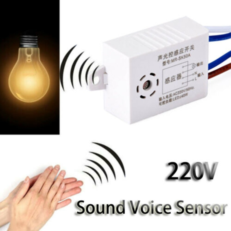 Commutateur automatique intelligent de capteur de voix du son 220V pour lutilisation de contrôle de Photo de commutateur de réverbère marche/arrêt dans lescalier dentrepôt de bain de couloir
