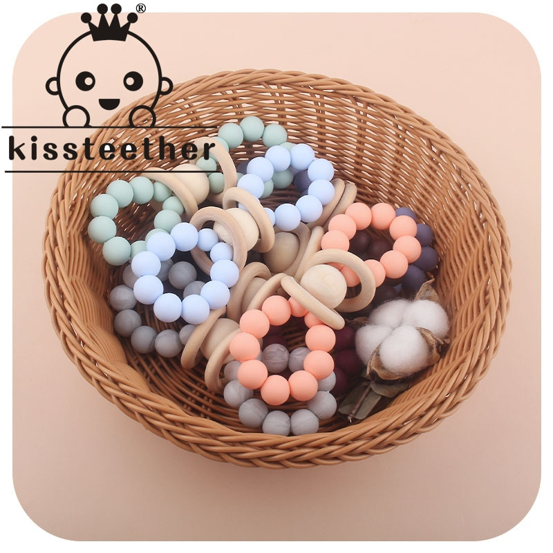 Деревянные погремушки Kissteether для детей, детские игрушки Монтессори, развивающие игрушки, деревянное кольцо с колокольчиком для кровати, сен...