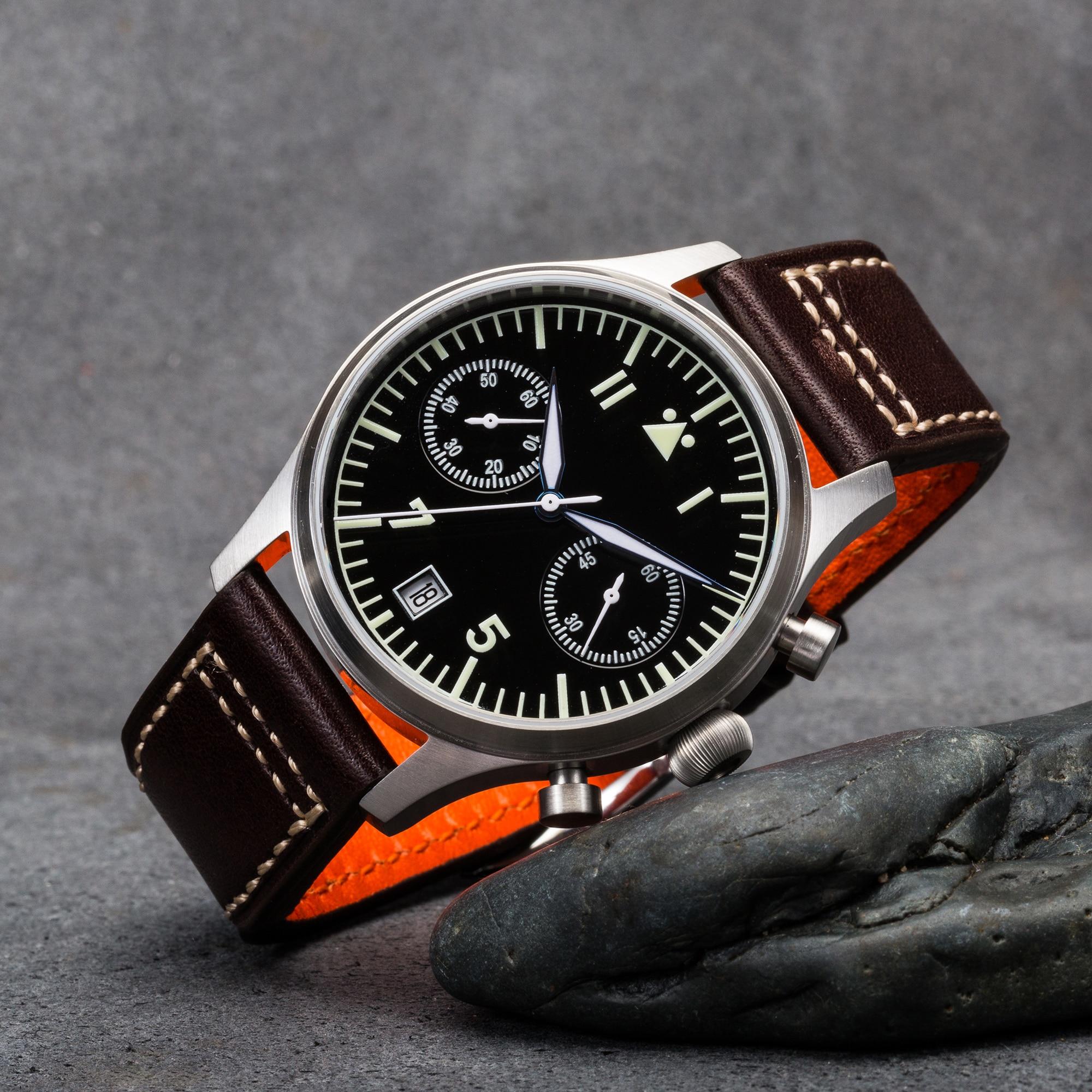 【Escapement Time】Quartz  6S21 Movement Pilot Flieger Chronograph Watch Black Dial and 40mm Case