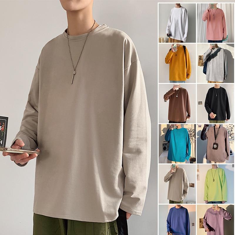 Мужская длинная футболка с круглым вырезом, Повседневная Удобная футболка с длинным рукавом, весна-осень 2021