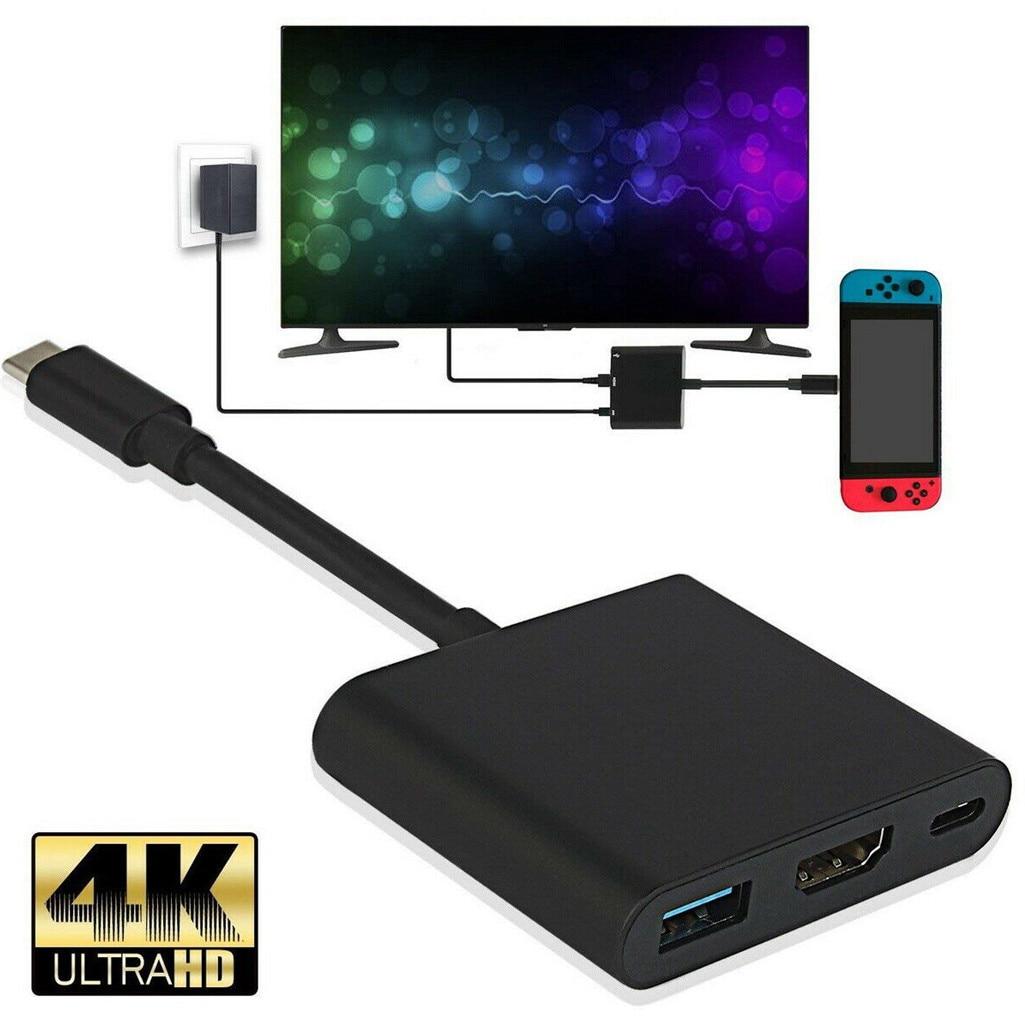 CARPRIE Nintendo Switch 1080P 4K adaptador HDMI para Switch USBC 3,0 adaptador de concentrador HDMI tipo C para reproductor de vídeo de PC de TV en casa
