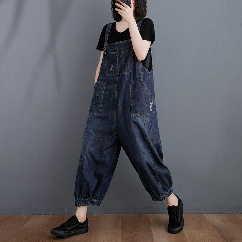 Shoulder Strap Jeans Female Summer 2020 New Style Artistic Fat mm plus Size Jumpsuit Loose Slimming