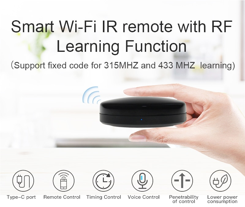 5V/ 1A USB Type C WiFi RF IR Universal Remote Controller App 75m Voice Control For Alexa Google Home Family Intelligence System