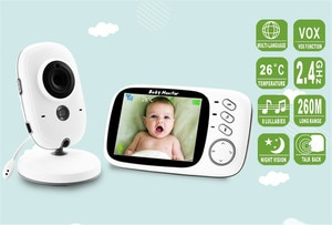 3.2 Inches LCD 2 Way Intercom Baby Monitor Night Vision Nanny Cam Surveillance Security Camera Babysitter