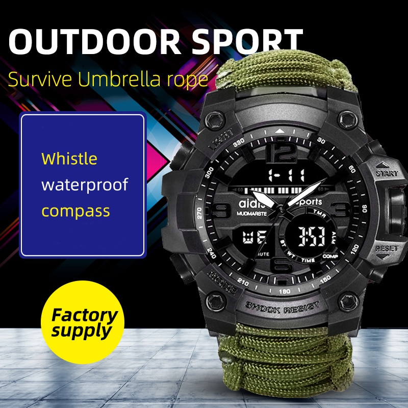 Addies Men Military Compass Wristwatch Tend  Waterproof Whistel Stopwatch Alarm Clock Outdoor Sport