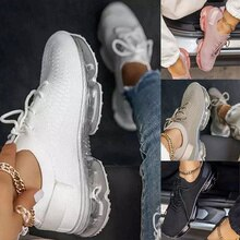 Women  Lace Up Female Sneakers Light Comfort Air Cushion Shoes Woman Casual Breathable Ladies Plus S