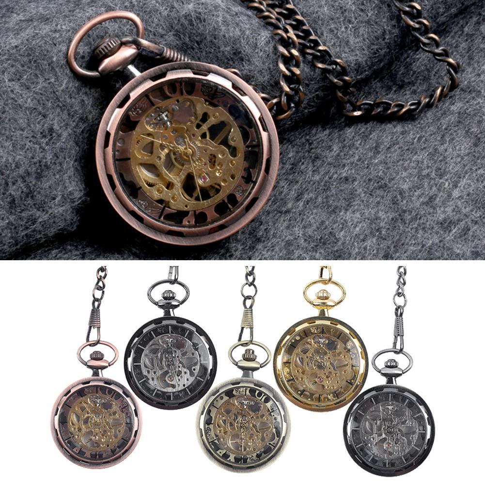 Retro Hand-winding Hanging Chain Alloy Hollow Uncovered Mechanical Pocket Watch Clock for Daily Life