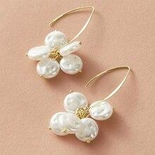 Korean Fashion Pearl Round Flower Earrings for Women Boho Jewelry Party Wedding Gold Statement Dangle Earrings Delta Sigma Theta