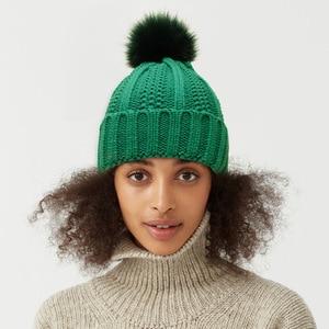 Hat For Women Winter Hat Knitted Rabbit Fur Skullies Hat Pompom Warm Bonnet Cap Female Hats For Women Hat
