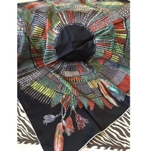 "Women Head Scarves Fashion Tassels Print 100% Silk Scarf Shawl Square 35"""