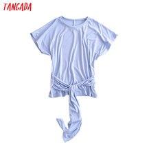 Tangada women vintage slash blue T shirt short sleeve O neck tees ladies casual tee shirt street wear top 3W117