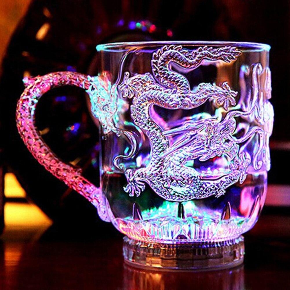 Светодиодный вспышка волшебного Цвет изменение чаша с драконом активированную воду светильник-Up пива Кофе молока Чай винный стакан для Виски Бар кружка для путешествий, подарок