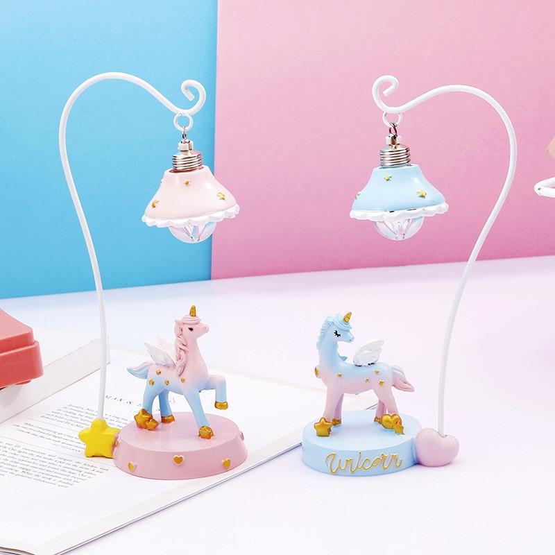 Kawaii Единорог Led Ночник светильник игрушка мультфильм аниме Единорог игрушечные мини-фигурки подарок детям