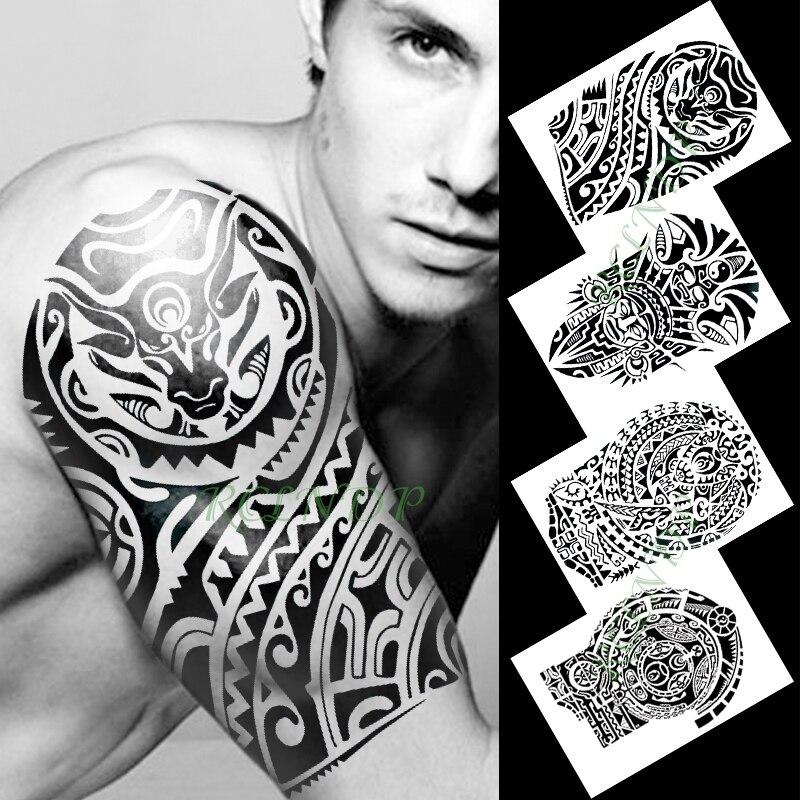 Braço tatto Temporária à prova d água Etiqueta Do Tatuagem do dragão totem Indiano preto flash tatoo falso tatuagens para mulheres dos homens