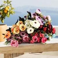 Roses artificielles en soie 9 pivoines  decoration de salon de Style europeen pour mariage  ameublement Durable pour la maison  fournitures essentielles