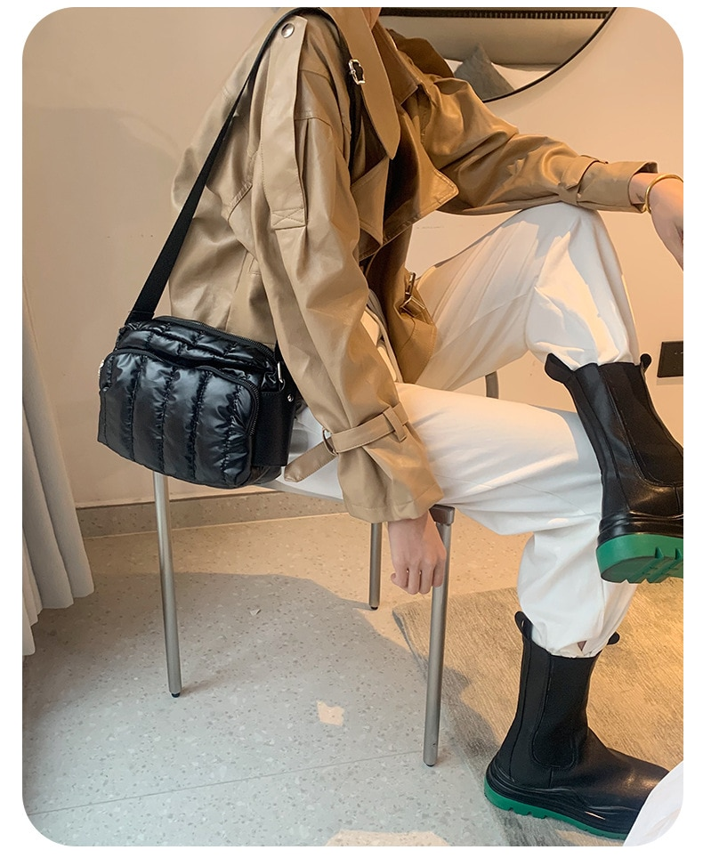 Fashion space bag luxury space cotton ladies shoulder bag women leisure waterproof messenger bag broadband fluffy leather wallet