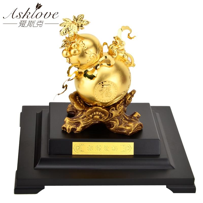 Decoración calabaza dorada, Feng shui, Fortuna y riqueza de la suerte, adornos de papel de aluminio dorado, artesanía FU LU, artesanías, regalos de La Fortuna, decoración del hogar, Oficina