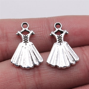 10pcs Charms Evening Dress 13x20mm Antique Silver Color Pendant Evening Dress Charms For Jewelry Making Jewelry Findings