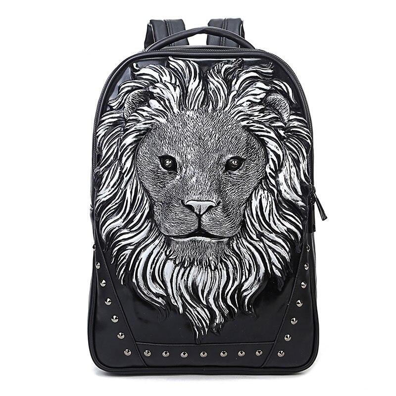 Mochila de remache con cabeza de león con tachuelas, bolsa para disfraz de Halloween, mochila de viaje Punk Rock, mochila de verano para ordenador portátil 2019