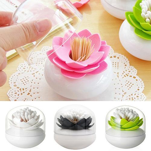 1 Pc Creative Lotus Shape Toothpick Cotton Bud Swab Holder Storage Box 4 Colors Cotton Bud Holder Fashion Home Decor With Cap