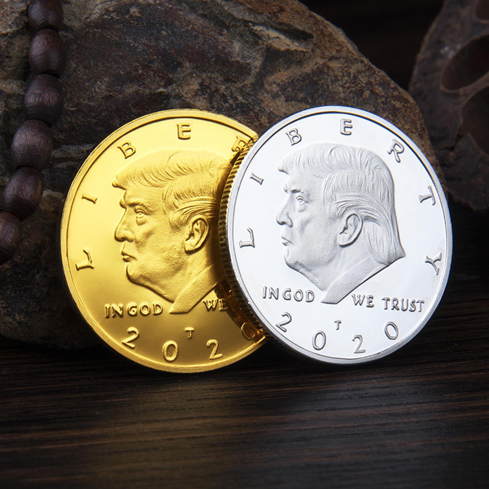 Areyourshop ouro prata chapeado moeda comemorativa eua donald trump 2020 liberdade dropshipping