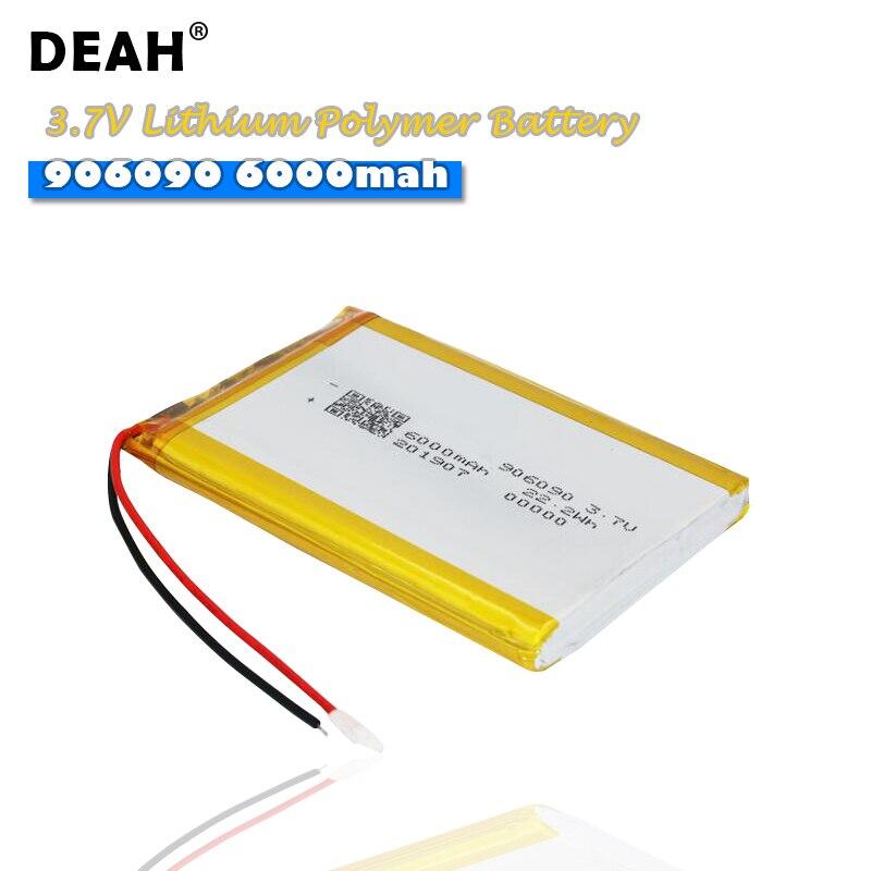 3,7 V Lipo cells 906090 6000mah batería recargable de polímero de litio de alta capacidad para la tableta móvil Ebook Cámara DVD GPS