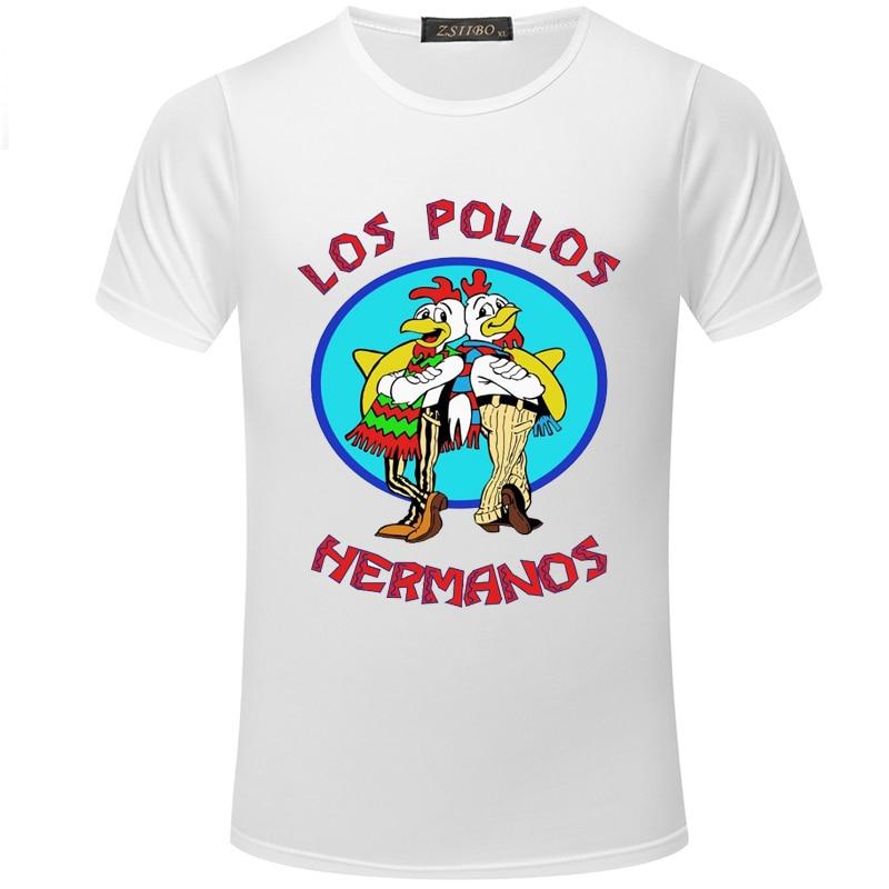 Nueva Camiseta con estampado de pollo divertido LOS POLLOS Breaking Bad verano camiseta delgada Casual moda cuello redondo manga corta Camiseta hombres S5MC39