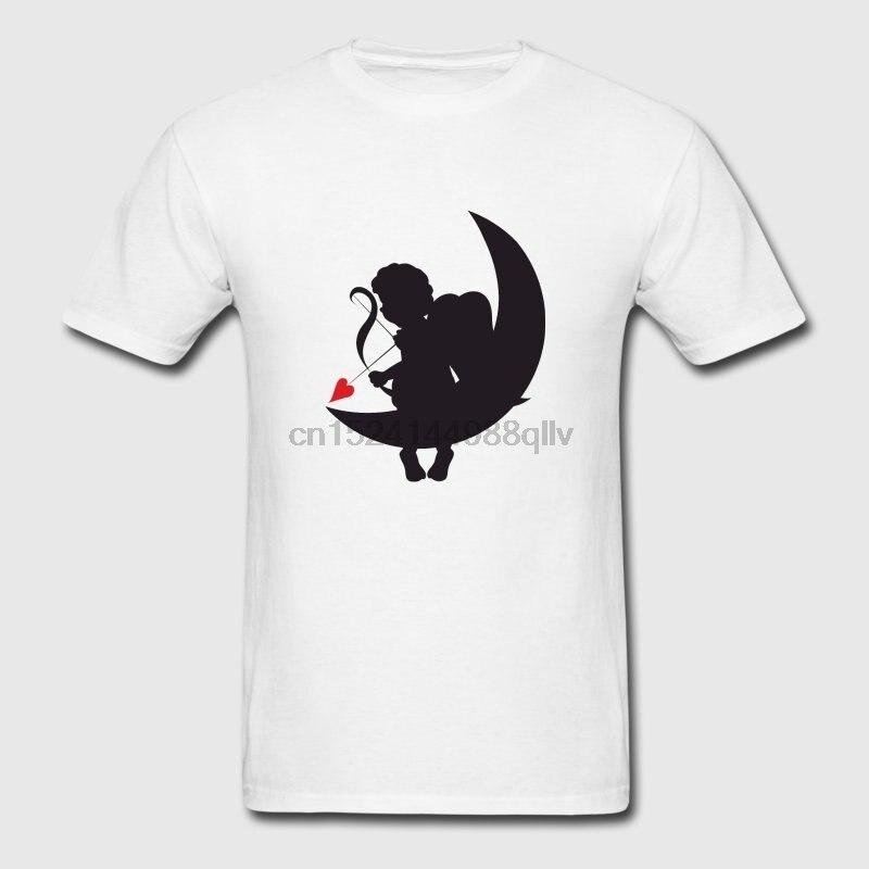 Camiseta Casual hombres Pop superior Tee Amour Heart San Valentín amor Cupido camisetas de Luna básica de caballeros sólidos camiseta Cool ajuste