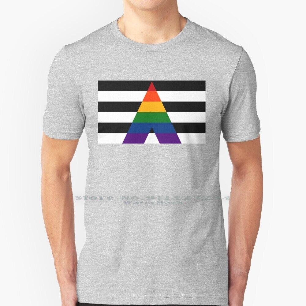 Sólido Lgbt aliado orgullo bandera T camisa 100% de algodón puro Lgbt...