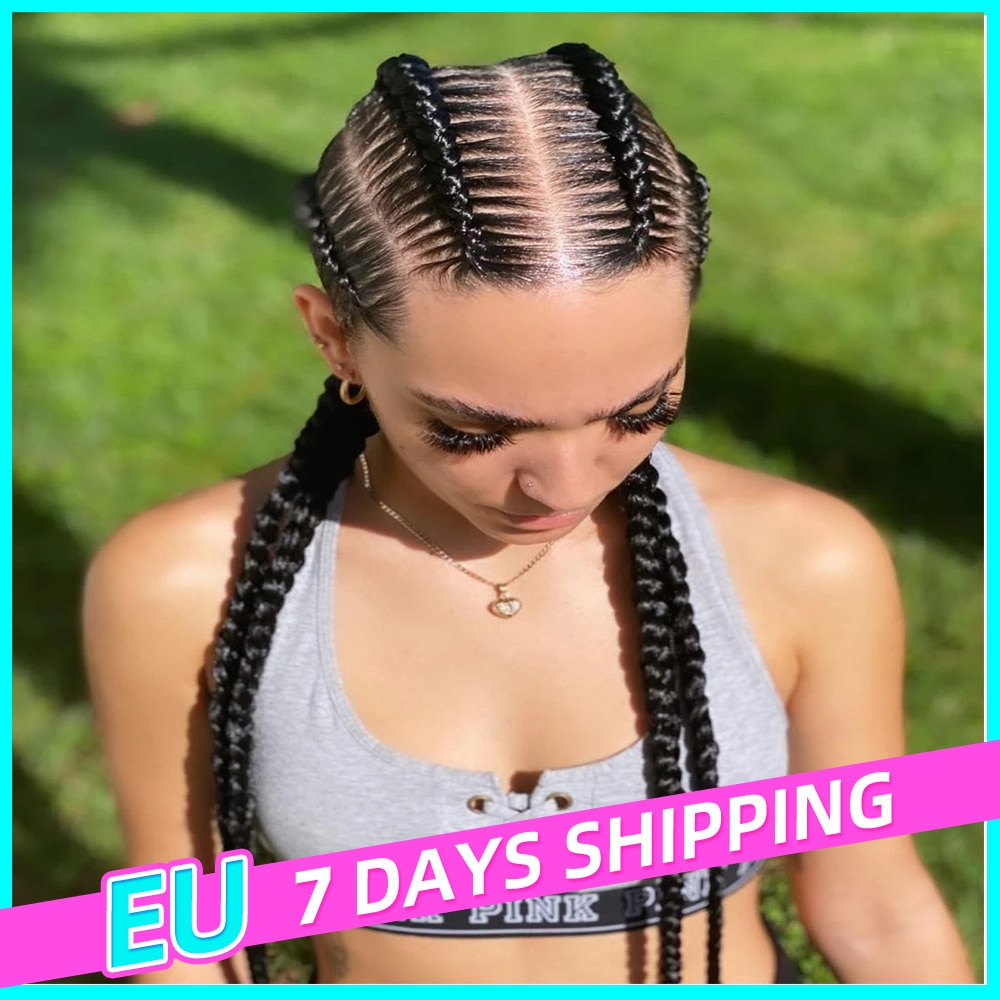 Braided Wigs Synthetic Lace Wig Natural Dark 32 Inches Black Burgundy Wig For Black Women American African Wig Wholesale