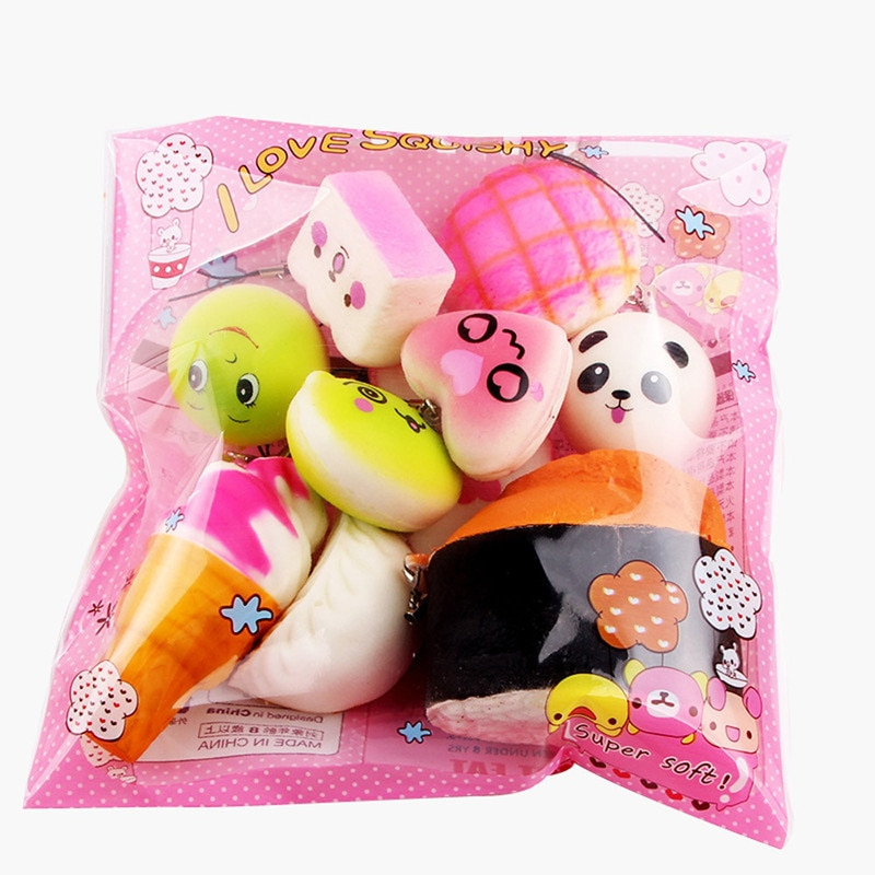 10pcs Squishies Toy Medium Mini Soft Bread Toys Key Banana Cake Toast Squishy Toy Kawaii Toys Squishy Pack Fidget Toys Random enlarge