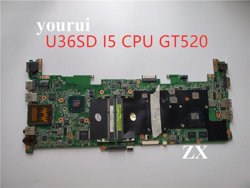 معالج وحدة المعالجة المركزية من سلسلة U36SD i5 للكمبيوتر المحمول ASUS U36S U36SG U44SG اللوحة الأم REV 2.1 اللوحة الرئيسية GT520M N12P-GV-B-A1 DDR3 تم اختبارها على ما ي...