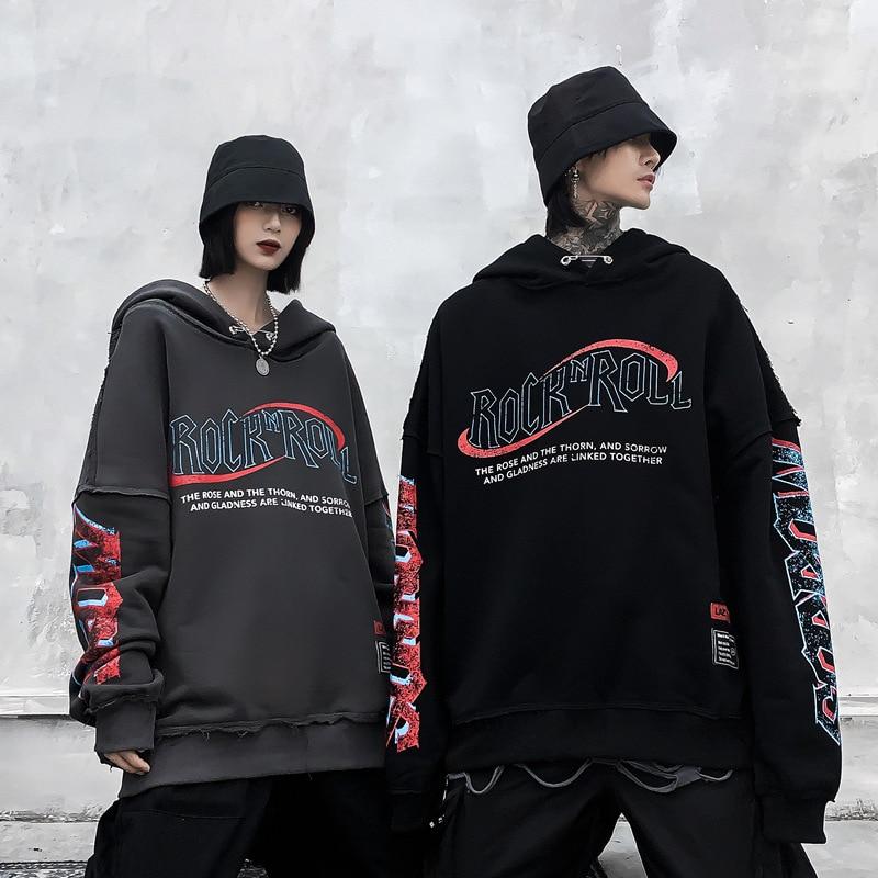Sudaderas con capucha Hip Hop lavadas de estilo Retro con rebabas de Rock para hombres y mujeres