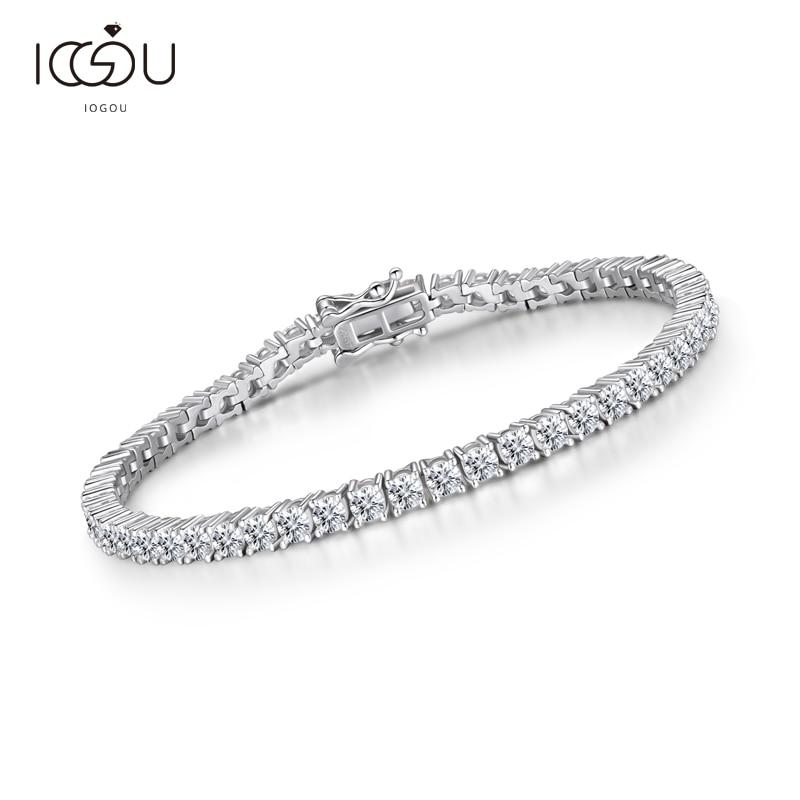 IOGOU-سوار تنس نسائي من الفضة الإسترليني عيار 925 ، 8 ''7'' 7.5 ''6.5'' ، أساور من الفضة الإسترليني 3 مللي متر ، هدية للعشاق