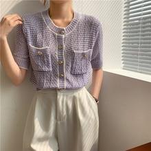 CMAZ Fashion Short-sleeved TShirt Women 2021 Summer New Knitted Cardigan Office Lady Loose Blouse El