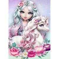 DIYDiamond     peinture de corne de cheval pour fille  perceuse complete 5D  licorne magique de dessin anime  strass  point de croix  mosaique  decoration de maison  cadeau pour enfants
