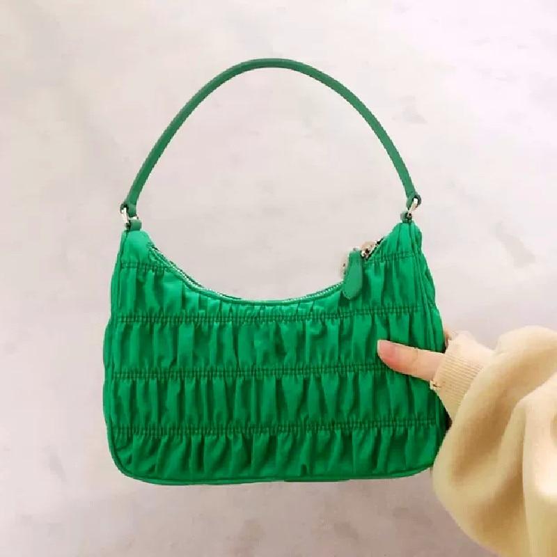 Summer Underarm Bag 2020 Luxury Design Women Hobo Pleated Tote Bag Candy Color Nylon Handbag Small Shoulder Bag Female Purses
