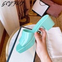 ฤดูร้อนผู้หญิงรองเท้าแตะ2021ลูกอมสีเยลลี่ Pvc หนาด้านล่างรองเท้าแตะหญิงรองเท้าส้นสูงกลางแจ้...