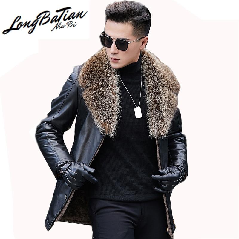 Jaqueta de couro dos homens rea naturalraccoon vison gola de pele plus size 5xl masculino lã shearling casaco quente 1592 lx2380