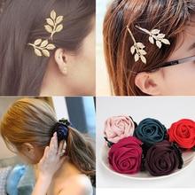 Fashion Ribbon Flower Leaf Hair Clip for Women Girls Hair Accessories Hair Claws Barrette Metal Hairpin Hair Crab Clamp Headress