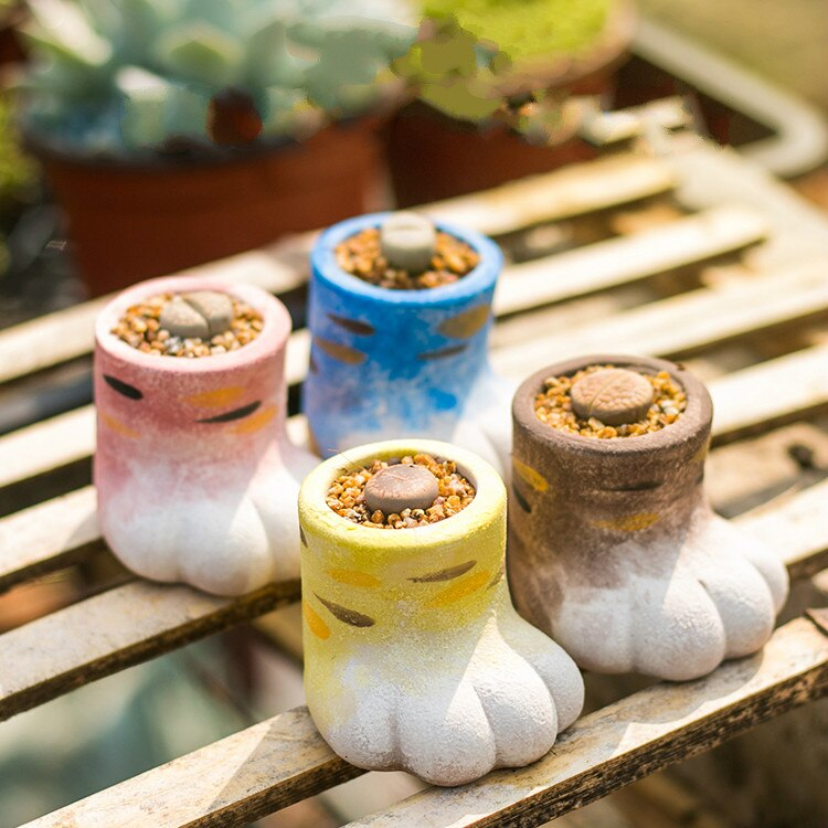 Maceta Multi-Carne de gato macetero de dedo cerámica áspera maceta para suculenta maceta decoración del hogar maceta suculenta