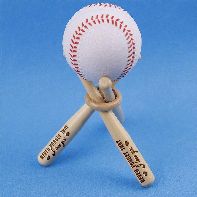 Mini bate de béisbol soporte de la bola de Golf de almacenamiento de la exhibición amante marido novio regalo personalizado grabado de madera Bat Set