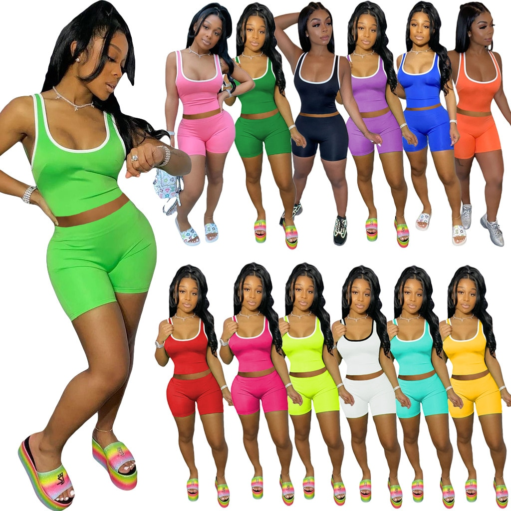 Solid Color Sleeveless Sexy Crop Top Vest & Shorts Bodycon Two Piece Set Women Casual Sports Summer Clothes Suits