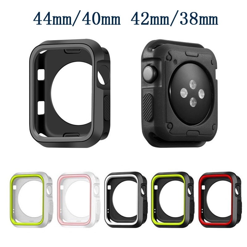 Caixa do relógio para apple assistir serie 6 5 4 3 se 44mm 40mm iwatch caso 42mm 38mm protetor de tela abundante + capa apple assista accessorie