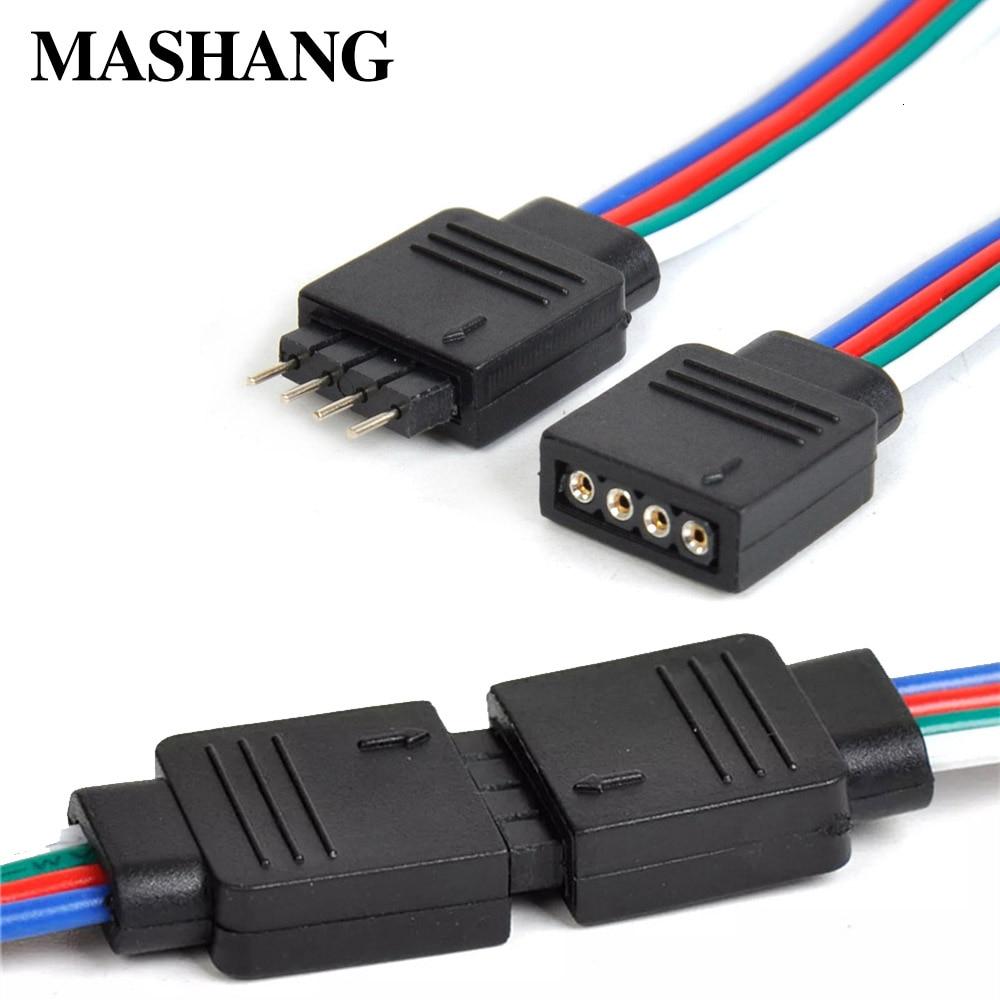4pin RGB Cable conector para LED macho hembra enchufe conector Cable de conexión para 3528 SMD 5050 RGB tira LED lámpara de cinta de luces