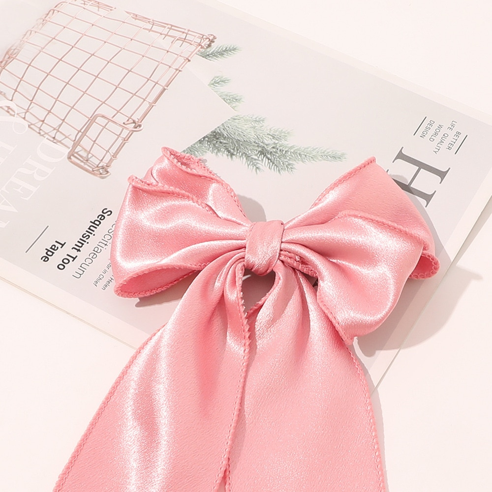 Oversize Bows Hair Clip Satin Bowknot Ribbon Hairpins Barrettes Women Solid Color Ponytail Clip Hair Accessories  - buy with discount