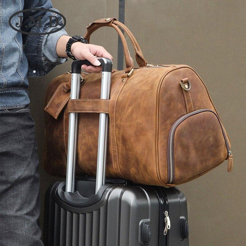 MAHEU Hohe Qualität Leder Reisetasche Mit Gürtel auf Gepäck Reisen Schulter Tasche Schuh Tasche männer Luxus Vintage Duffle tasche