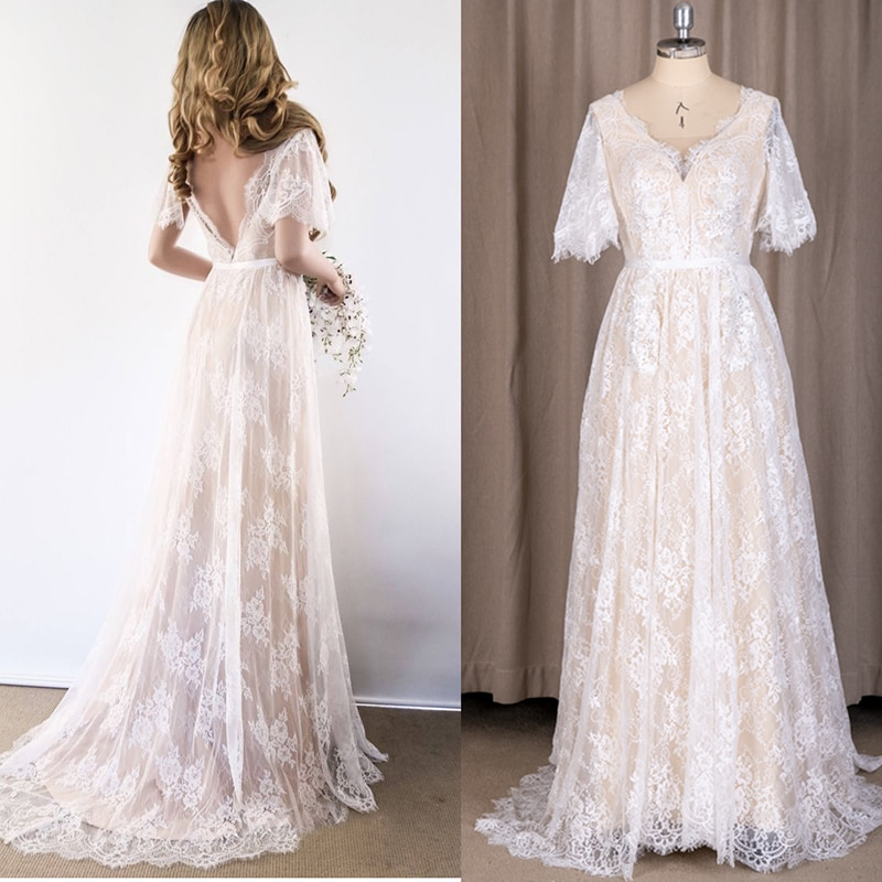 Promo Boho Lace V-Neck Backless Beach Wedding Dress Short Sleeves Elegant Appliqued Tulle 2021 A Line Romantic Backless Bridal Gowns