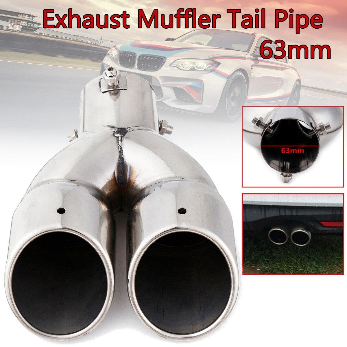 63mm doble salida coche silenciador de escape punta tubo de cola de acero inoxidable cola modificada la garganta de tubo de plata